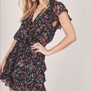 Black Floral Ruffle Mini Dress